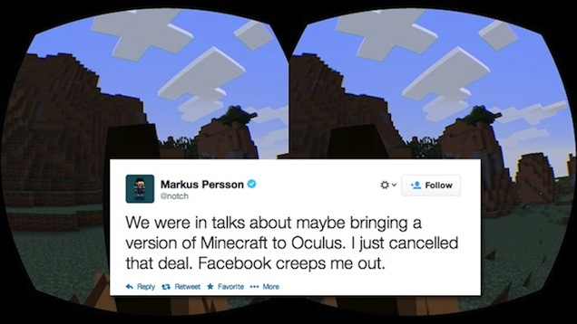 Minecraft para Oculus Rift cancelado por Notch