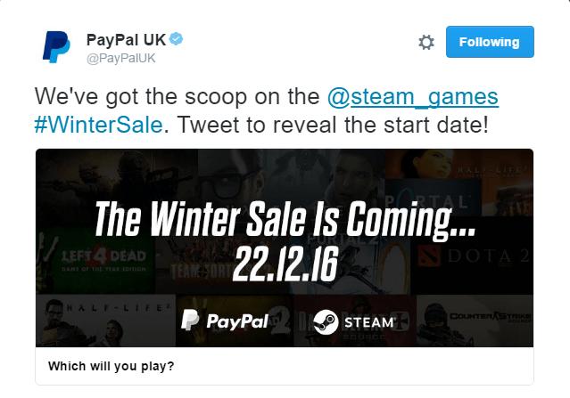 Ofertas de Navidad de Steam anunciadas por PayPal UK